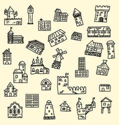 Set doodle houses vector