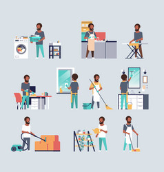 Set men doing housework different housecleaning vector