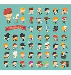 Set of 50 professions vector