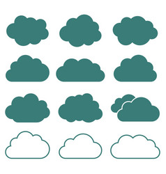 set of cloud icons flat style vector image