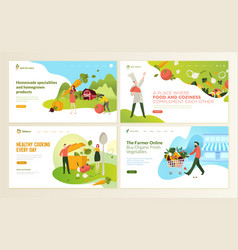 Set of web page design templates for organic food vector