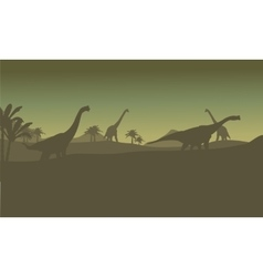 Silhouette of many brachiosaurus in hills vector image