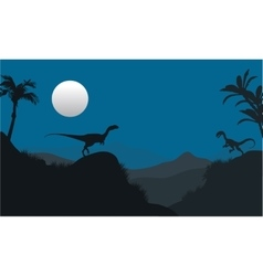 Silhouette of Megapnosaurus in hills vector image