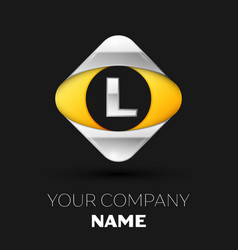silver letter l logo in the silver-yellow square vector image