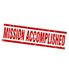 Square grunge red mission accomplished stamp vector
