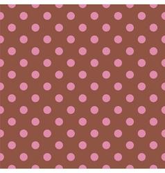 Tile pattern pink polka dots on brown background vector