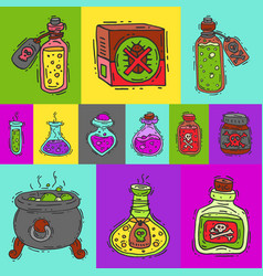 Toxic substances round pattern vector