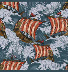 viking drakkar ships colorful seamless pattern vector image
