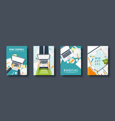 Workplace flat style covers set laptop documents vector