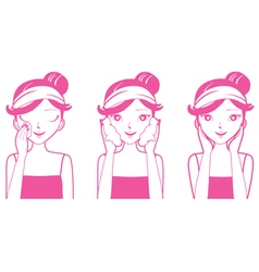 Young Woman Cleaning Washing And Cares Her Face vector