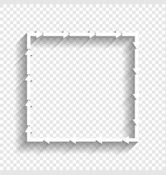 arrow on a square shape white icon with vector image vector image