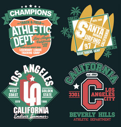 california t-shirt graphics set sport wear vector image vector image