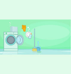 cleaning horizontal banner shine cartoon style vector image