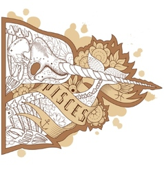 Engraving pisces vector image