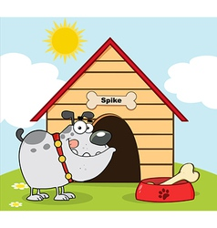 Gray Bulldog With Bowl And Bone vector image vector image