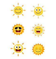 happy sun cartoon collection set vector image vector image