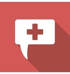 Medical answer flat square icon with long shadow vector
