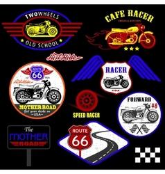 Set of vintage motorcycle badges vector image vector image