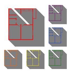 apartment house floor plans set of red orange vector image