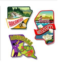 Arkansas Mississippi Louisiana luggage stickers vector image vector image