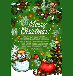 christmas tree gifts and snowman sketch poster vector image