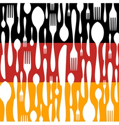 German cuisine cutlery pattern on the country flag vector
