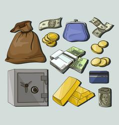 hand drawn finance symbols vector image
