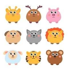 Set of cute animals rounded shape Round animals vector image vector image