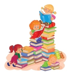 Small children reading a book vector image vector image