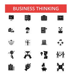 business thinking thin line icons vector image