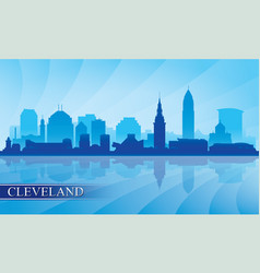 cleveland city skyline silhouette background vector image vector image