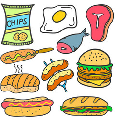 doodle of food style set collection vector image