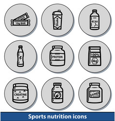 light sports nutrition icons vector image vector image