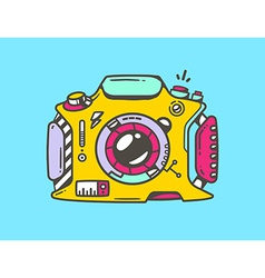 linear of yellow photo camera vector image