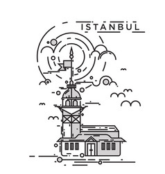 maiden tower istanbul vector image vector image