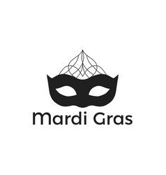 mardi gras black mask on white background vector image vector image