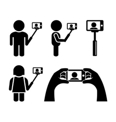 Selfie With Mobile Phone Icons Set vector image vector image