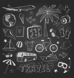 travel doodles icons sketch on black chalkboard vector image vector image