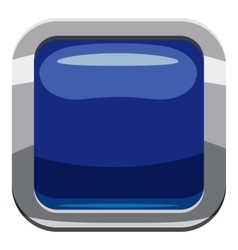 Blue square button icon cartoon style vector image
