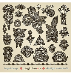 hand draw black flower design element vector image vector image