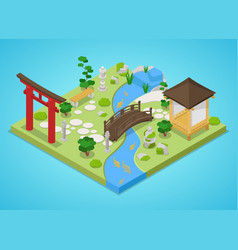 japanese garden with bridge and trees isometric vector image vector image