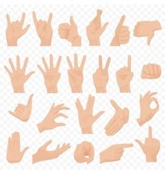 Realistic human hands icons and symbols set emoji vector
