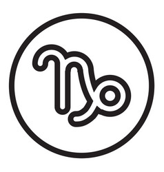 Thin line capricorn sign icon vector