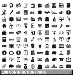 100 contribution icons set simple style vector