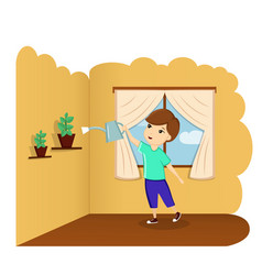 a child watering a flower at home a child helps vector image