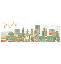 abstract tegucigalpa skyline with color buildings vector image