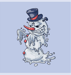 angry snowman in a black hat creative vector image