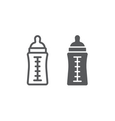 Baby bottle line and glyph icon feed and milk vector