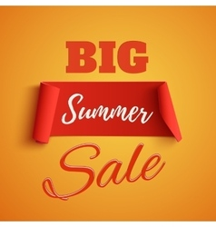 Big summer sale poster on orange background vector image