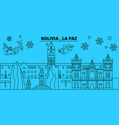 bolivia la paz winter holidays skyline merry vector image